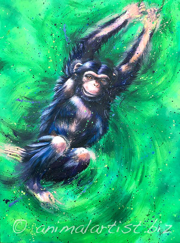 chimp swinging with joy
