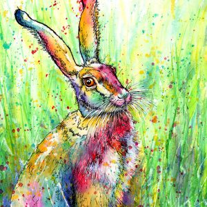 rainbow hare painting
