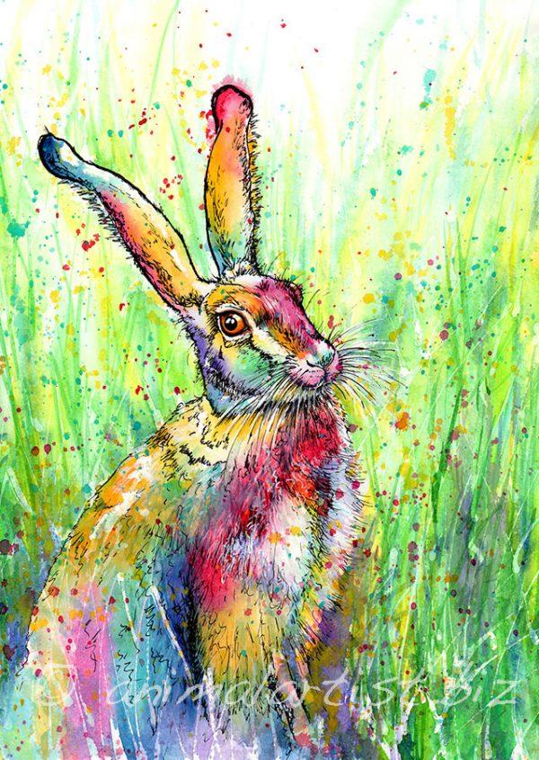 rainbow hare painting