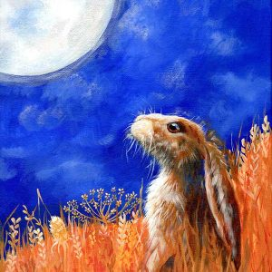 moon gazing hare in wheat field in acrylics