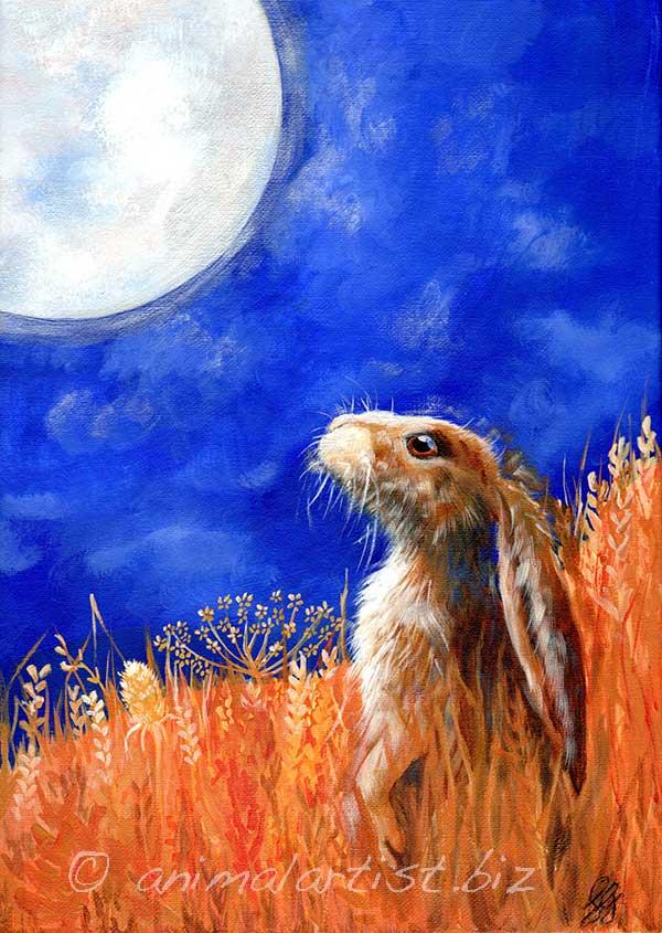 moon gazing hare in wheat field in acrylics