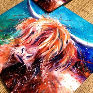highland cow place mat and coaster