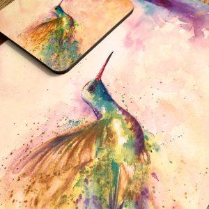 hummingbird place mat and coaster