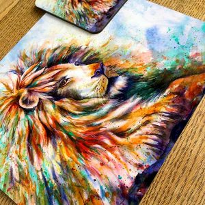 lion placemat and coaster
