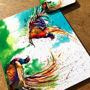 pheasant place mat and coaster