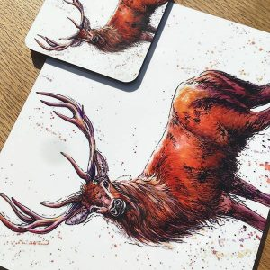 brown stag placemat and coaster