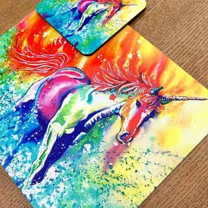 unicorn placemat and coaster