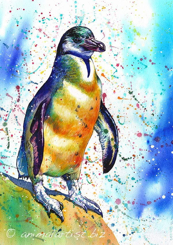 colourful penguin painting