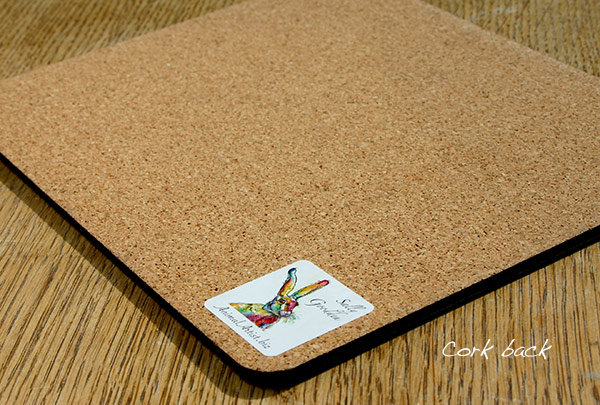 place mat cork back and label