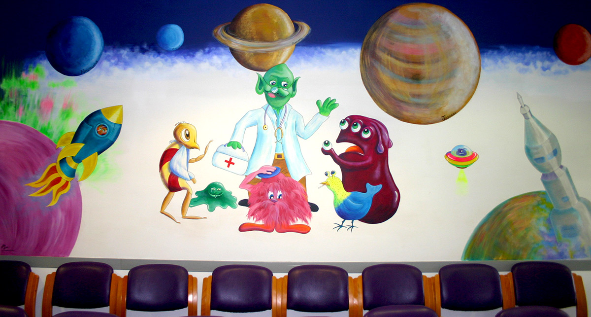 space hospital waiting room mural