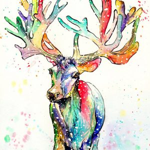 rainbow reindeer painting