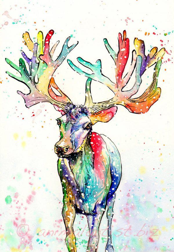 rainbow reindeer painting