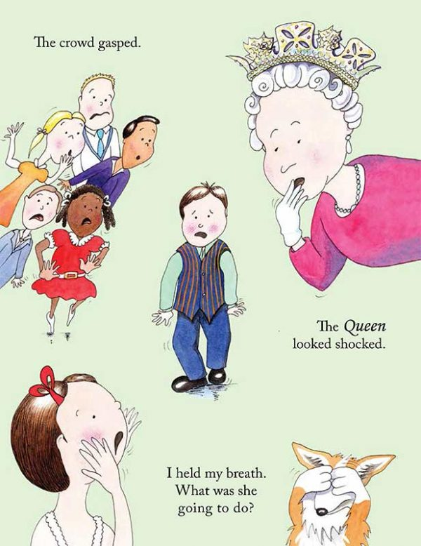 book illustration of the queen looking shocked
