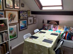 sallys studio set up for art class