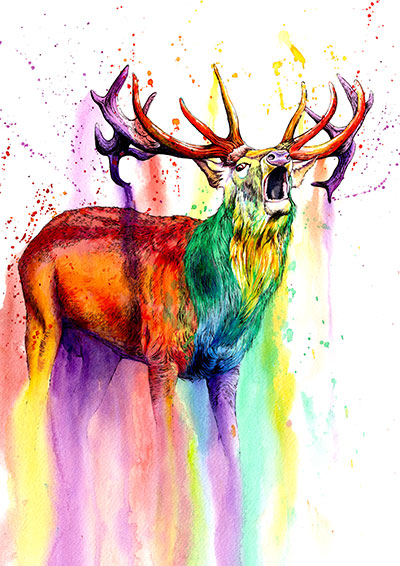 colourful rainbow stag with antlers